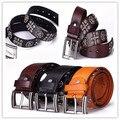 Black Vintage 2016 Man Punk  ROCK cross geniune leather waist Belt  rivet skull cowboy pin buckle belt brand new BT004