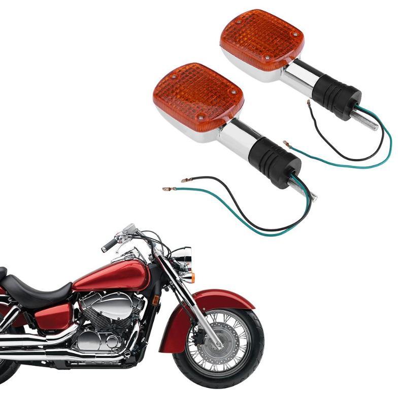 Large Chrome Round Motorcycle Turn Signal Indicator Blinker Lights Pair for Honda Nighthawk