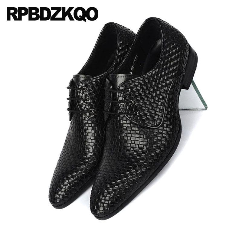 La Italien Italie Taille Rouge Oxfords Noir Européenne Robe Plus Chaussures Tissé Formelle Tressé Noir Bourgogne En Pointu Cuir Véritable Hommes vin Bout pqITq