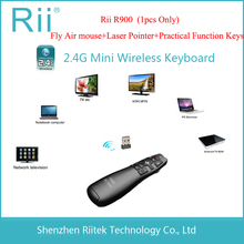 Wholesale 2.4GHz Gyro Sensing Rii R900 mini Wireless Air mouse Keyboard Laser Pointer Function keys Teclado for Android TV Box PC HTPC