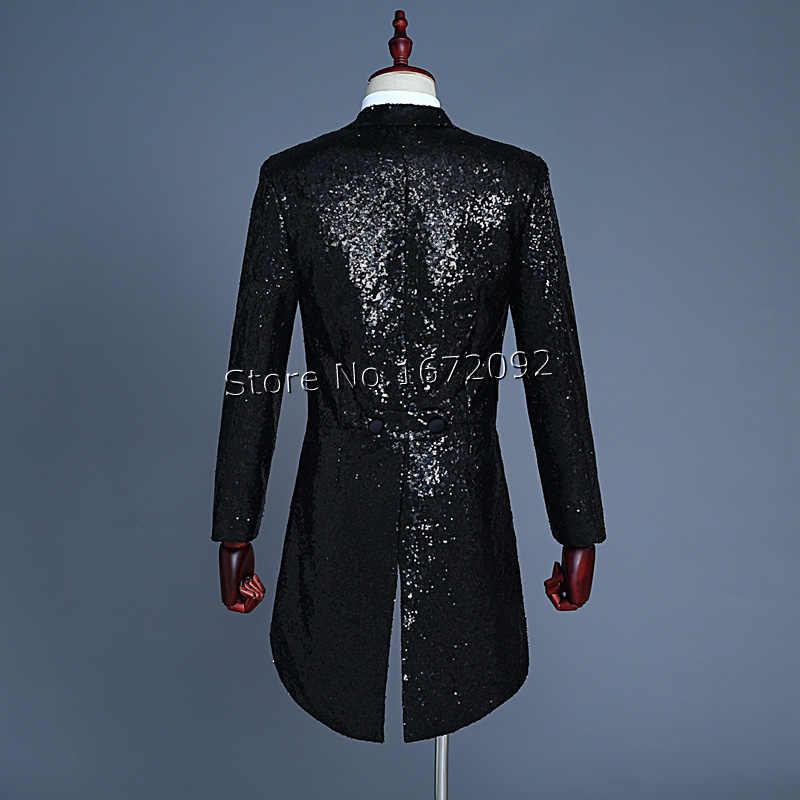 Sequin Đen Tailcoat Trang Phục Áo Người Đàn Ông Tailcoat Phù Hợp Với Nam Giới Red Tuxedo Tailcoat Phù Hợp Với Mùa Đông Áo Khoác Nam