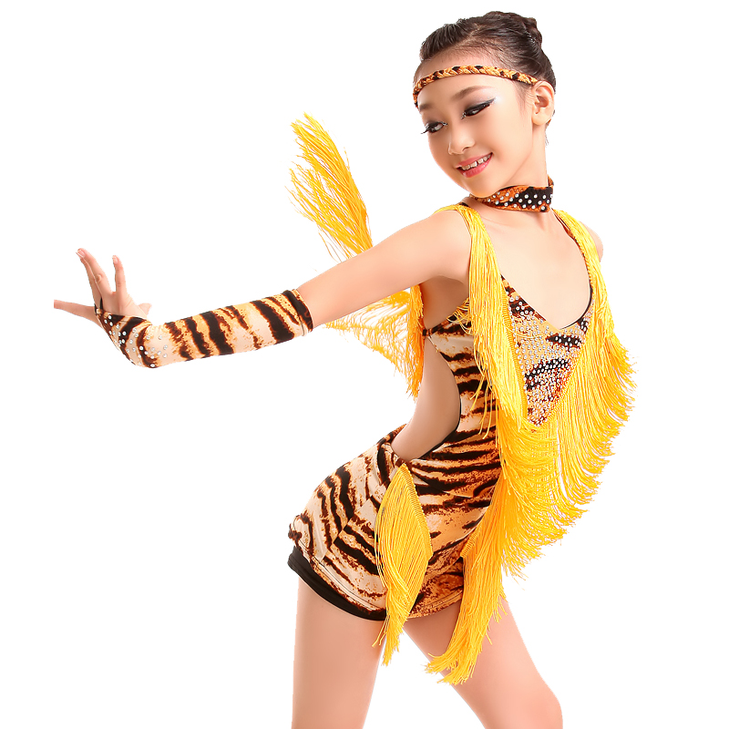 seksi latino plesne obleke za dekleta 2019 Tassel zebra tiger leopard latino obleka za otroke latino obleke za dekleta tekmovalna obleka