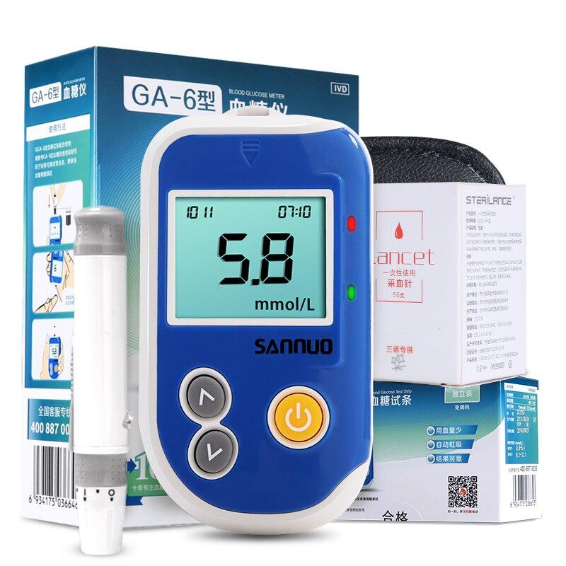 Sannuo GA-6 глюкометр глюкозы в крови мониторинга Системы для диабетиков с Тесты сахара крови газа обнаружения