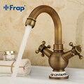 Frap  винтажный стиль  античная латунь  двойная ручка  смеситель для ванной комнаты  кран для горячей и холодной воды  кран для раковины  аксесс...