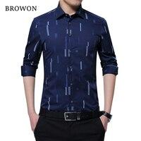 BROWON Brand Autumn New Fashion Men Shirt Stripe Clothes Men Dress Shirts Long Sleeve Camisa Masculina