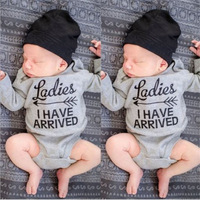 2017 Newborn Cute Infant Baby Boy Girls Warm Clothing Letters Long Sleeve Baby Boy Rompers Jumpsuit