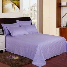 Качественные светло-фиолетовые хлопковые гостиничные домашние атласные полосы Твин/Полный/королева/король размер плоские простыни наволочки набор кровать сплошной цвет