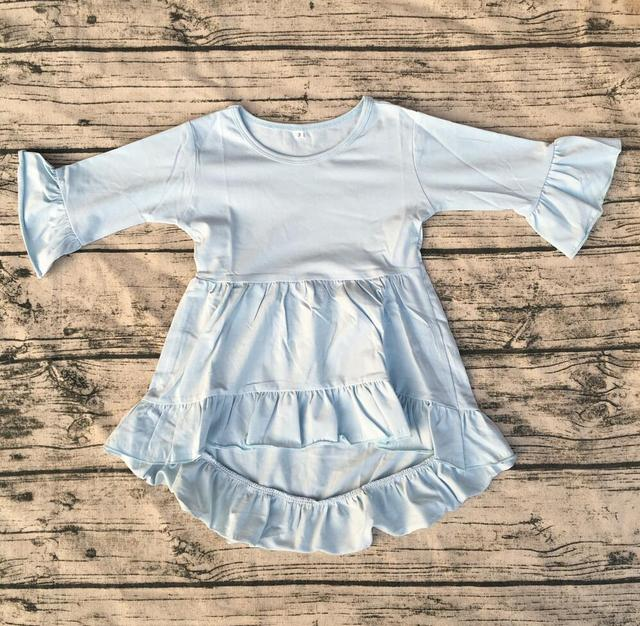 f24829c1 Simple frock design for baby girl Wholesale Flutter Sleeve pearl tunic  double ruffle long sleeve High
