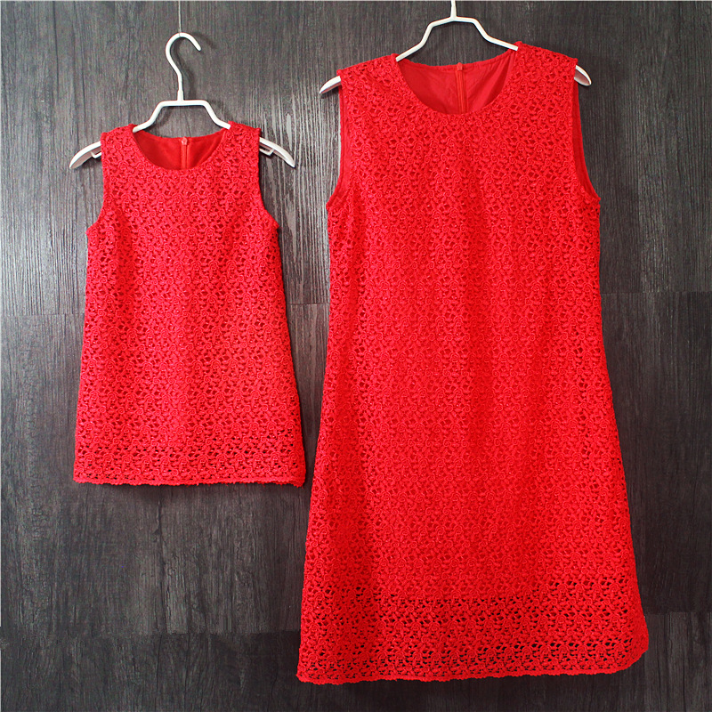 Brand red lace plus large size mother and daughter dresses party dress women Sleeveless sundress one-piece family match clothes kenka сандалии kenka sla 5020 1s navy red сине красный