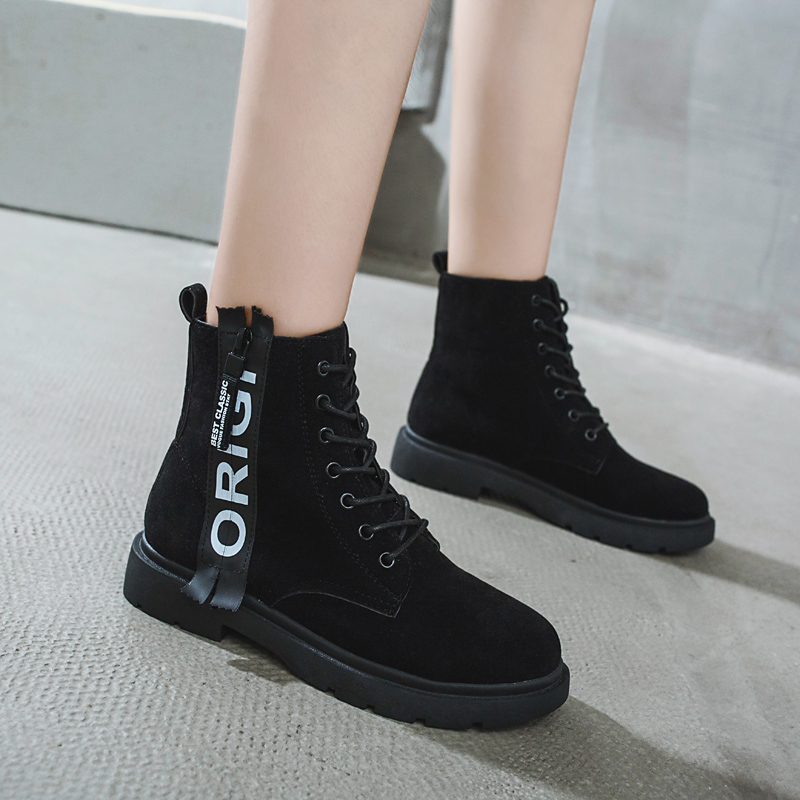 2018 new flat casual fashion letters Martin boots female British wind strap. 3