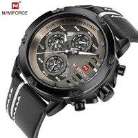 NAVIFORCE Mens Watches Top Brand Luxury Waterproof 24 Hour Date Quartz Watch Man Leather Sport Wrist