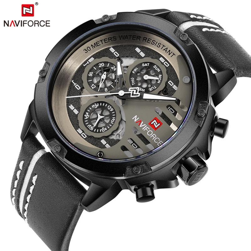 Naviforce Для мужчин S Часы лучший бренд класса люкс Водонепроницаемый 24 часа дата Кварцевые часы мужские кожаные спортивные наручные часы Для мужчин Водонепроницаемый часы