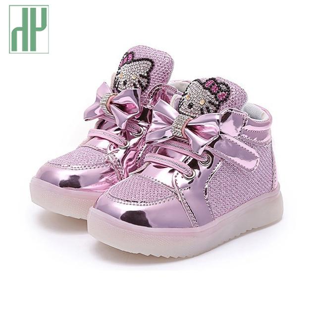 светящиеся кроссовки детская обувь Мода Крюк Петля светодиодные обувь дети свет кроссовки светящиеся детские маленькие Девочки принцесса детская обувь со светом кеды туфли для девочки