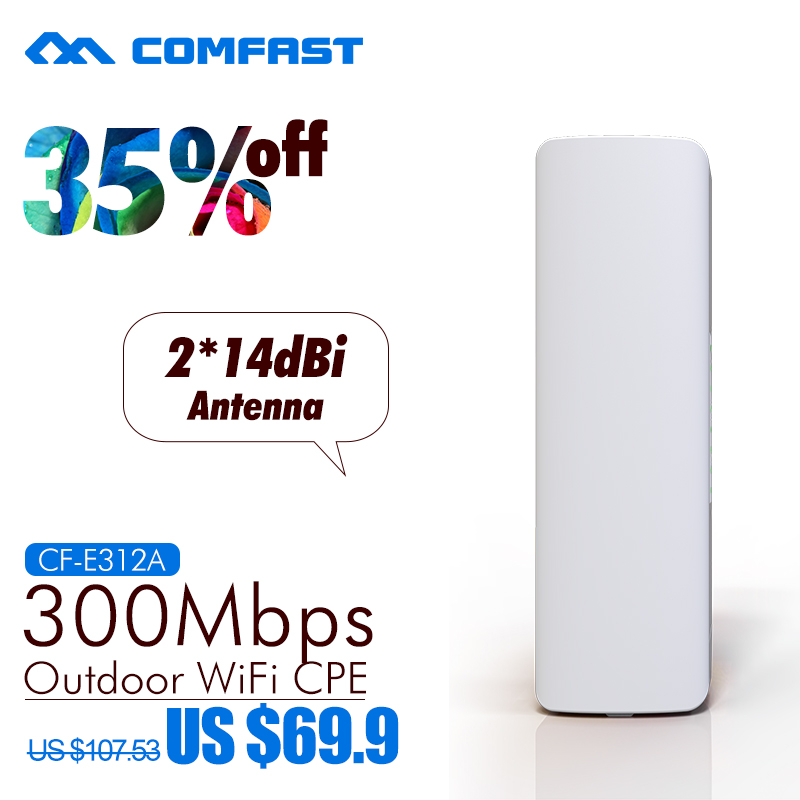 300Mbps 5.8Ghz outdoor Access Point with 2*14dBi WI-FI Antenna high power wireless bridge COMFAST CF-E312A WIFI CPE Nanostation comfast 300mbps high power wireless bridge cpe router 2 4ghz outdoor access point cpe wifi repeater with 2 16dbi wi fi antenna
