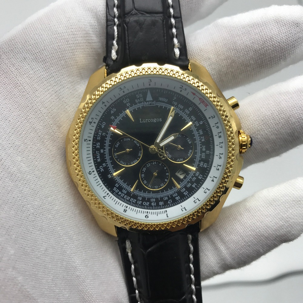 2019 luxury mens quartz watches gold case black dial leather strap with chronograph worksstop watch AAA+2019 luxury mens quartz watches gold case black dial leather strap with chronograph worksstop watch AAA+