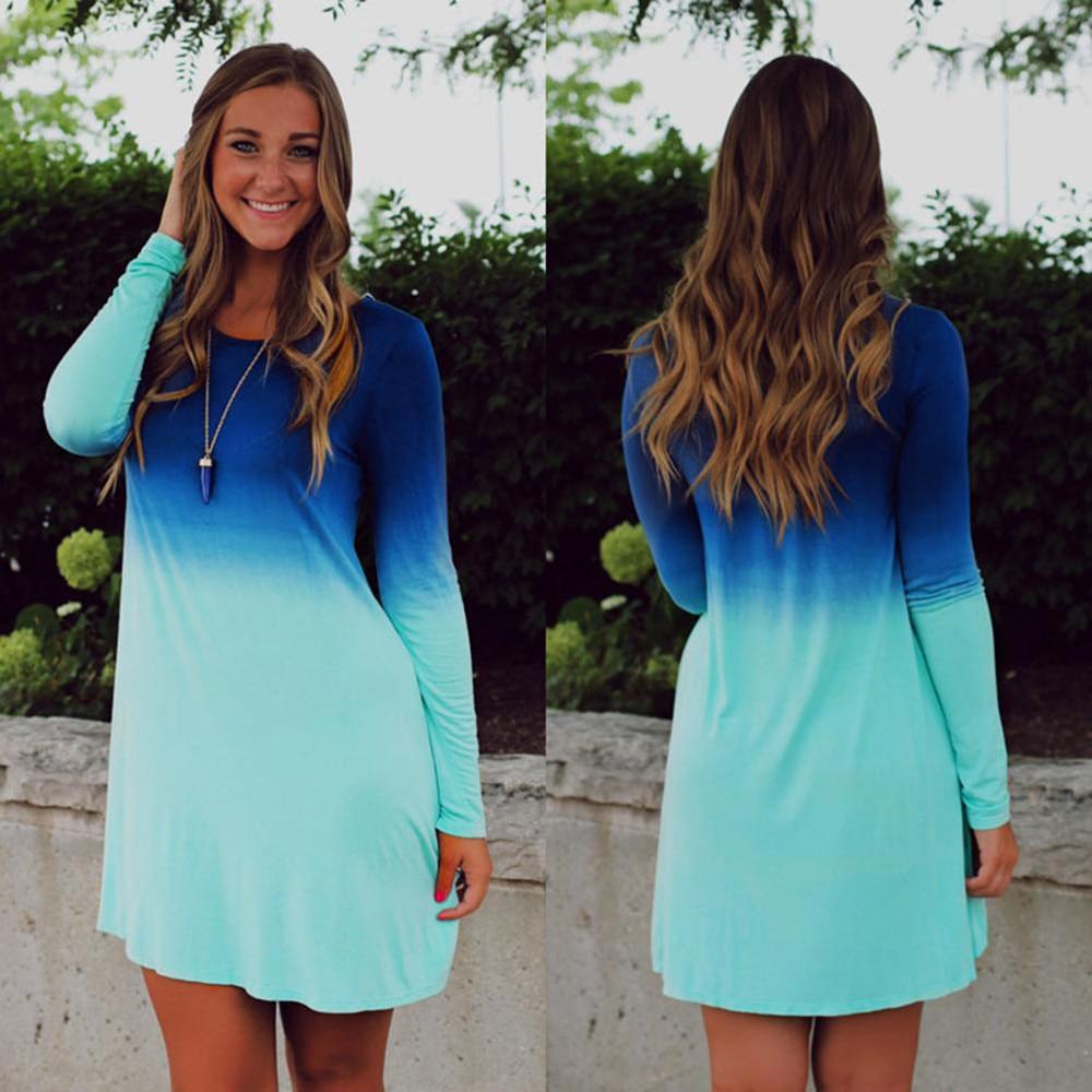 New Spring Dress Women Dresses Long Sleeve Plus Size Dress Fading