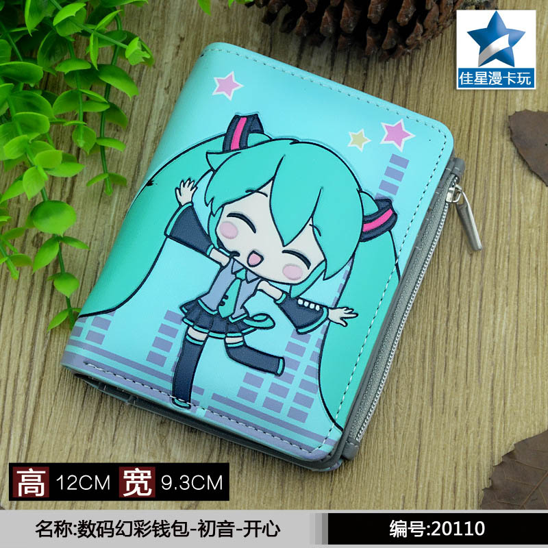 Student Short Coin Purse Anime/ACG Hatsune Miku Embossed Zero Change Wallet With Magnetic Button