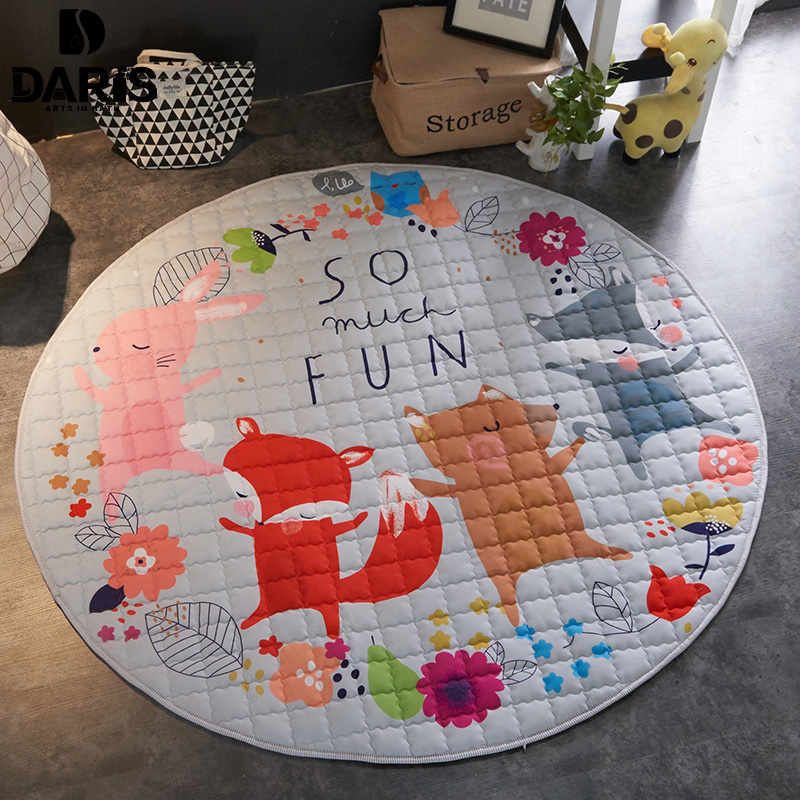 SDARISB Sala 150 cm ronda niños juguete almacenamiento bolsa dibujos animados portátil canasta de almacenamiento del bebé jugar manta piso estera
