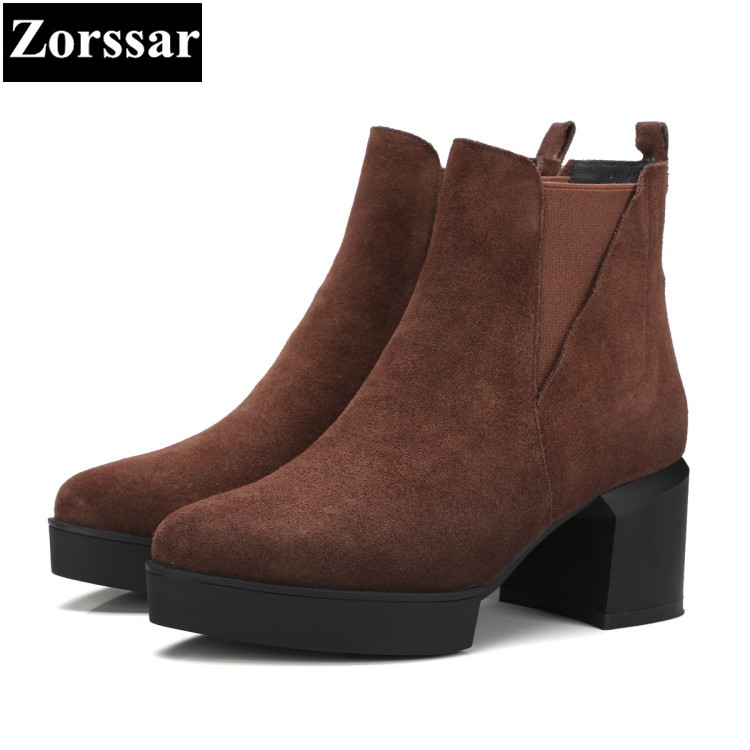 {Zorssar} 2018 NEW arrival fashion Retro thick heel short Boots Cow Suede High heels women ankle boots pointed Toe women shoes zorssar 2017 hot new women boots fashion retro genuine leather high heels ankle boots round toe zipper thick heel short boots