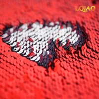 125 45CM 5mm Red African Sparkly Embroidered Lace Mermaid Reversible Sequin Fabric For Clothes Wedding Decor
