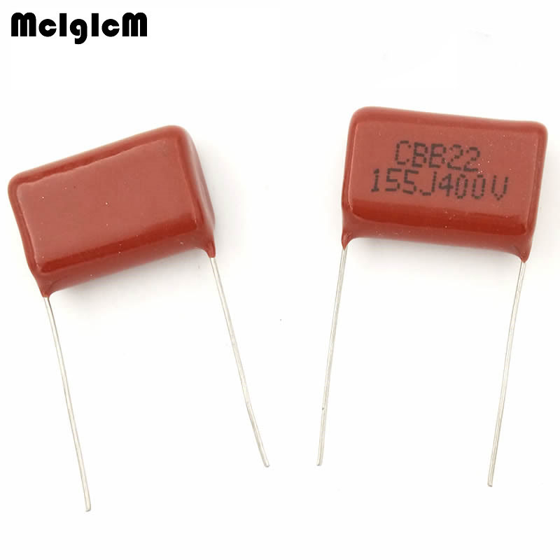 MCIGICM 500pcs 155 1 5uF 400V CBB Polypropylene film capacitor pitch 20mm 155 1 5uF 400V