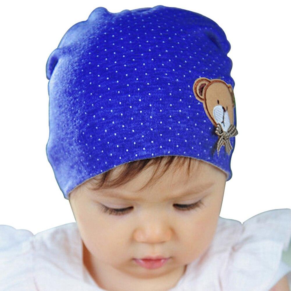 Hot 2016 Spring Winter Newborn Baby Girl Boy Polka Dot Crochet Cute Bear Cotton Beanie Cap Hat 10 Color Cheap Z1 hot 2016 spring
