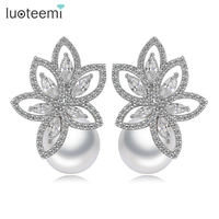 Teemi White Gold Plated Earrings Classic Marquise Cut CZ And Simulated Pearl Stud Earrings For Fashion