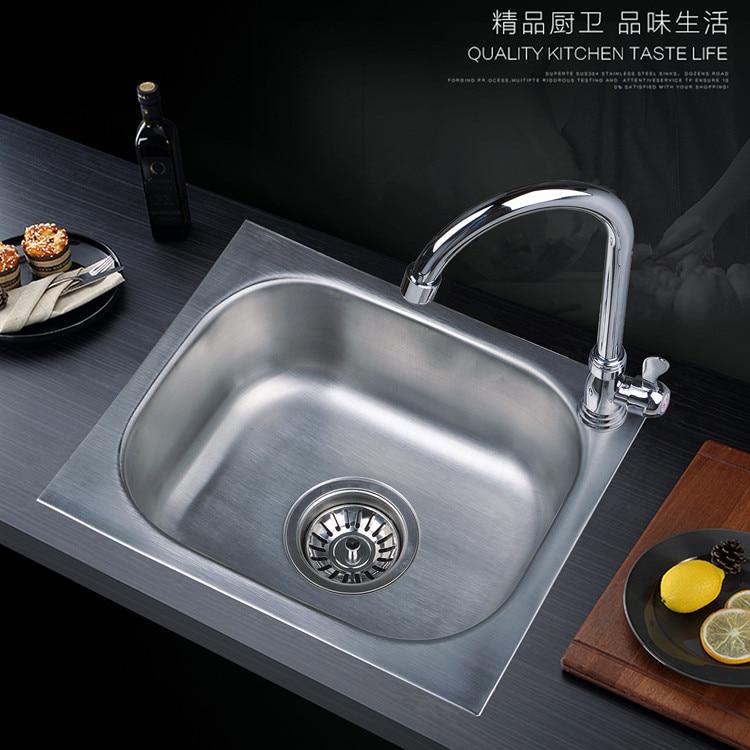 Moderne 304 roestvrijstalen aanrecht met wastafel kraan, enkele kom, Keuken accessoires, badrandcombinaties, met installion video - 2