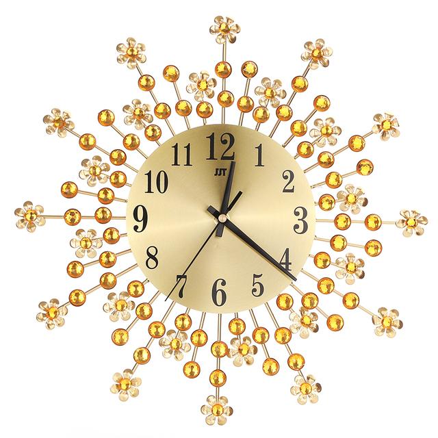 Inlaid Diamond Flower Living Room Silence Bedroom Metal Wall Clock