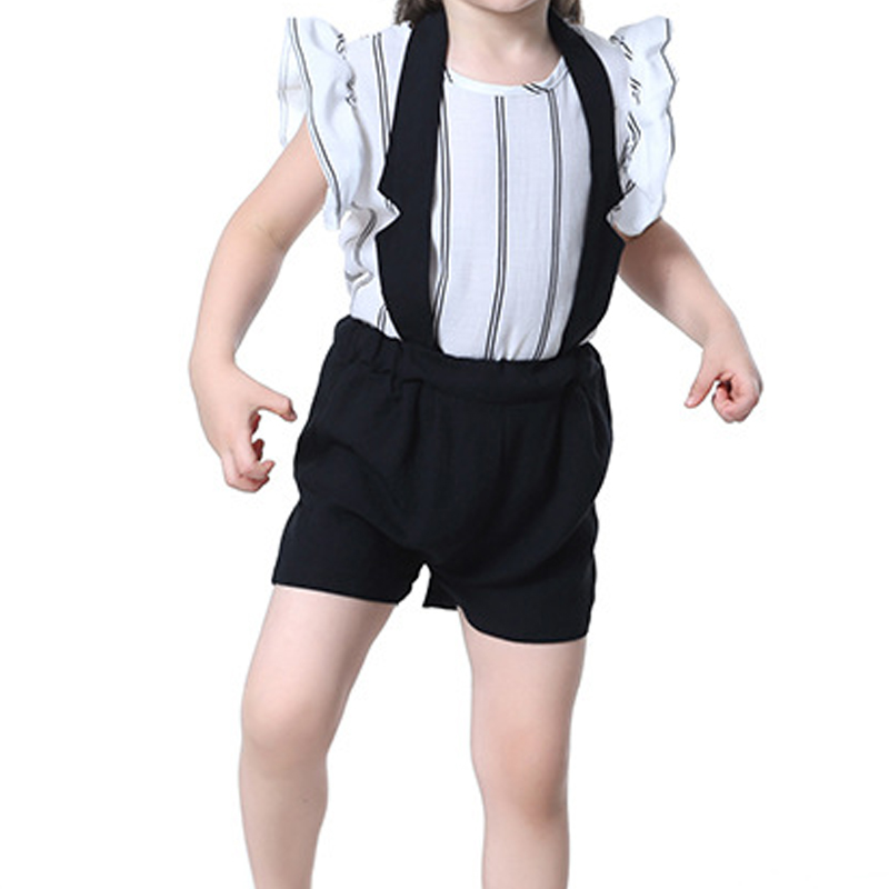 Summer Children Kids Casual Clothing  2Pcs/Set  White Stripe Shirts +Black Straps shorts For Girls Suit 1 2 4 5 6 8 Years new sexy vs045 1 6 black and white striped sweather stockings shoes clothing set for 12 female bodys dolls