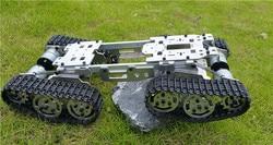 Wzy569 inteligente rc tanque carro caminhão robô plataforma subir metal tanque chassis diy 350 rpm corpo liga cnc + 4 faixas de plástico 4 motores