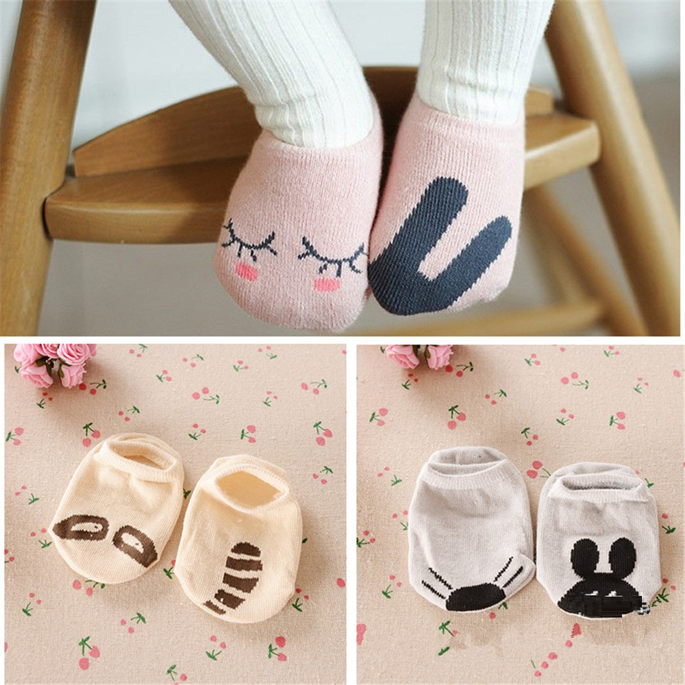 3Pairs Anti-Slip Children Sock Rubber Foot Cotton Baby Boy Socks Animal Girl Ankle Short Sock Newborn Anklets Infant Bobbysock