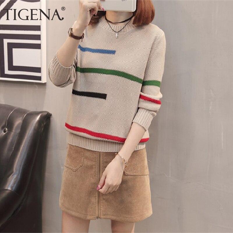 TIGENA 2019 Autumn Winter Pullover Sweater Women Jumper Korean Beautiful Color Striped Long Sleeve Knitted Sweater Female Khaki