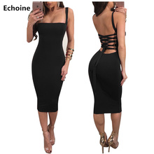 Women Bandage Lace Up Strap Midi Dress Slim Bodycon Backless Sexy Party Club Outfit Streetwear Woman Vestidos