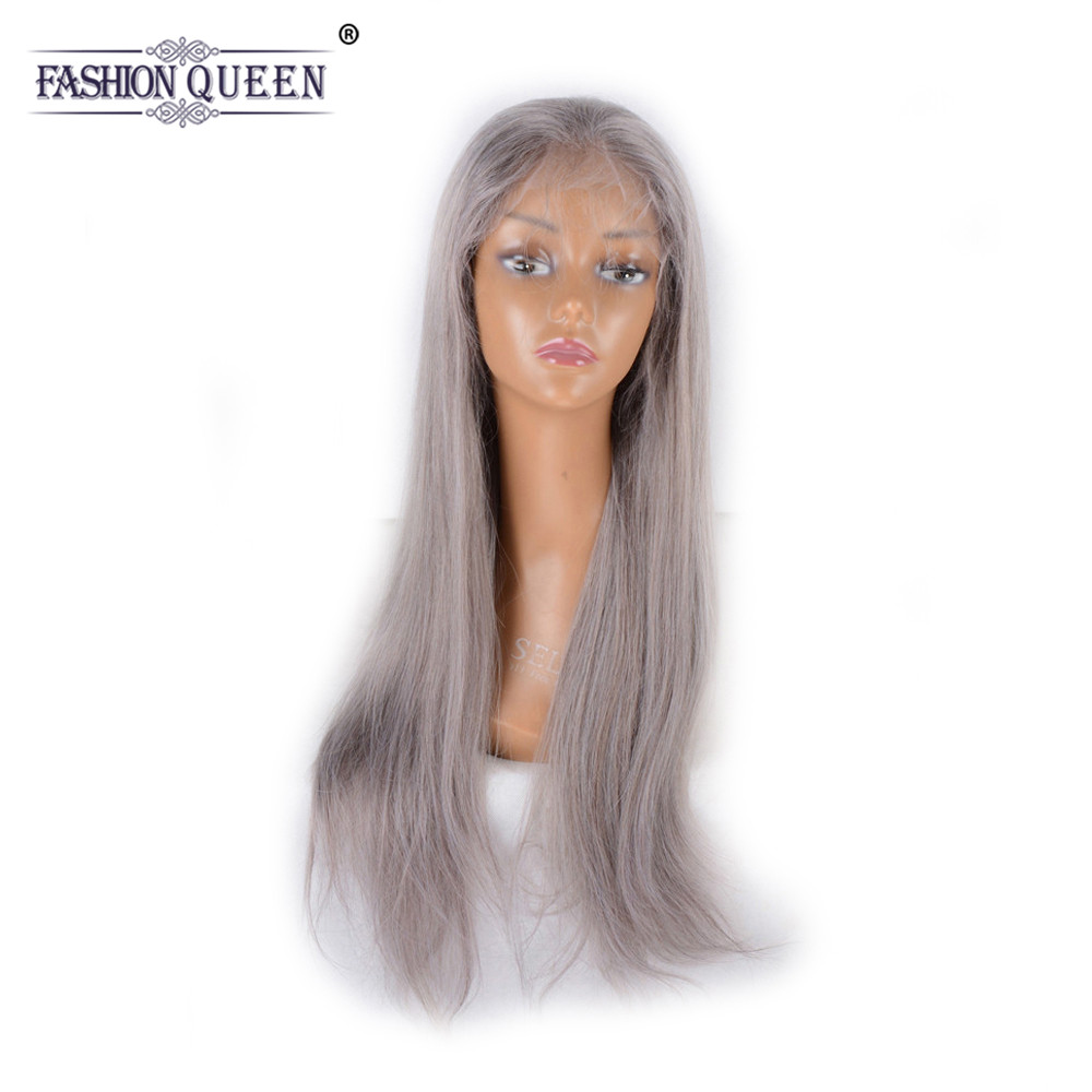 Fashion Queen 130 Density Full Lace Front Human Hair Wigs For Women Brazilian Straight Grey Color Pre Plucked with Baby Hair