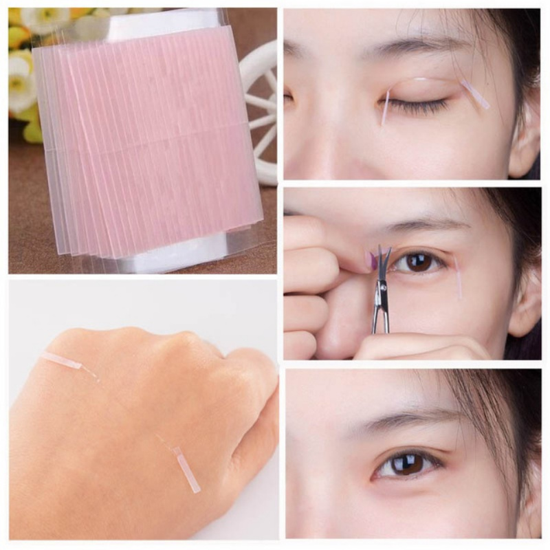 5 pcs Women Eye Beauty Makeup Invisible Fiber Double Side Adhesive Eyelid Stickers Technical Eye Tapes