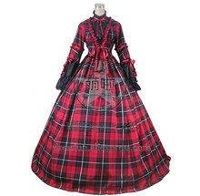 Civil War Reenactment Tartan Dress Ball Gown Prom Cosplay With Lace And Stripe Decorated Beautiful For Halloween Fast Fashion