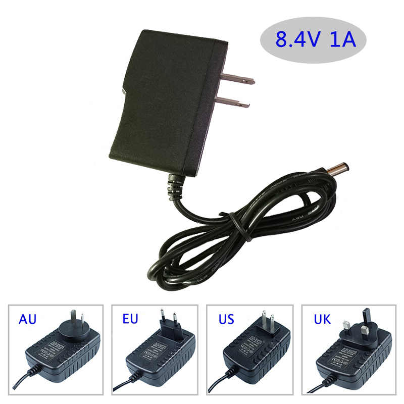 DC 8.4 V 1A Intelligente Intelligent Charger Li-Ion Batteria LiPo Lic power supply AU/EU/UK/US spina disponibile 5.5*2.1mm adattatore
