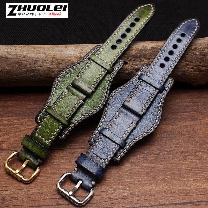 Haute qualité rétro épais bracelet en cuir véritable avec bracelet de montre mat pour hommes PAM épaissir bracelet de montre bracelet 20 22 24