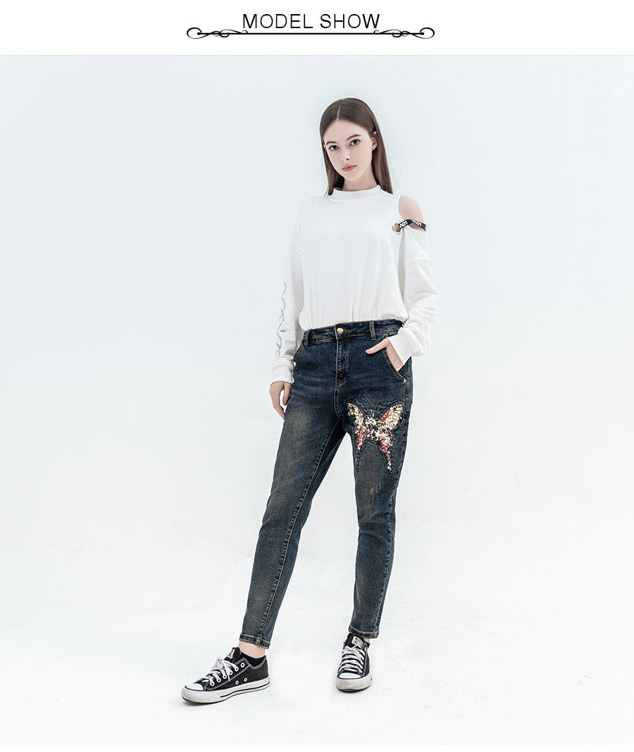 In Luckin Yoyo Women Jeans With Sequin Butterfly Jeans Pants Vintage Color Casual High Quality Cotton Full Length Denim Trousers Excellent Quality