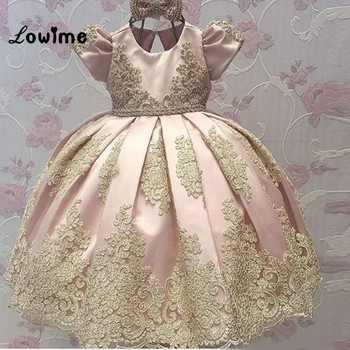 2017 First Communion Dresses for girl Short Sleeve Princess Flower Girl Dresses Birthday Party Dress with Appliques Custom Made