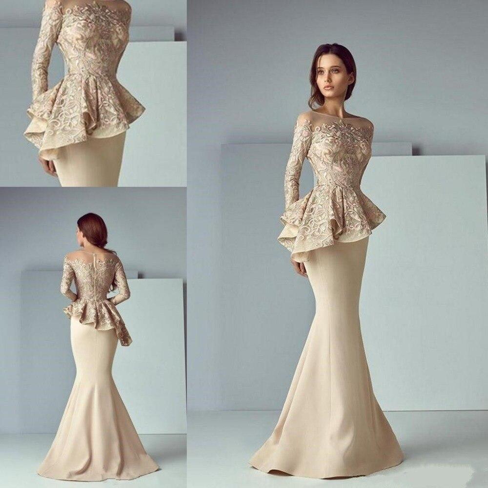 Champagne Lace Stain Peplum Long Evening Formal Wear Dresses 2019 Sheer Neck Long Sleeve Dubai Arabic Mermaid Prom Dress