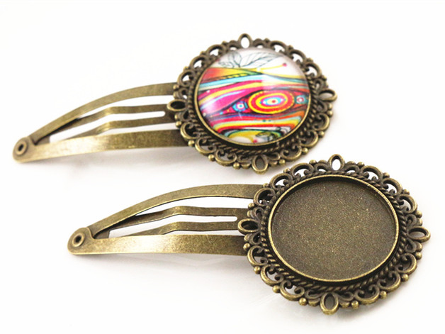 20mm 5pcs High Quality Antique Bronze colors Plated Hairpin Hair Clips Hairpin Base Setting Cabochon Cameo  J5-28