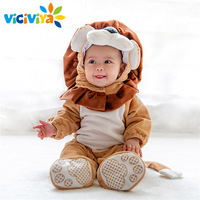 2017 Hot Sale Carnival Christmas Xmas Navidad Halloween Costume Infant Baby Girls Lion Rompers Cosplay Newborn