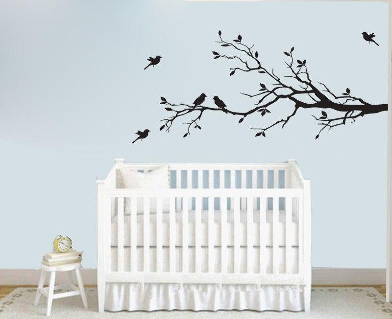 Branch bird 43cmx91cm vinyl wall decal diy art mural for Diy tree wall mural