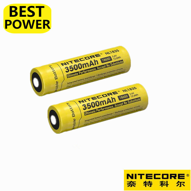 2 pcs Nitecore NL1835 18650 3500mAh(new version of NL1834)3.7V 12.6Wh Rechargeable Li-on Battery high quality with protection