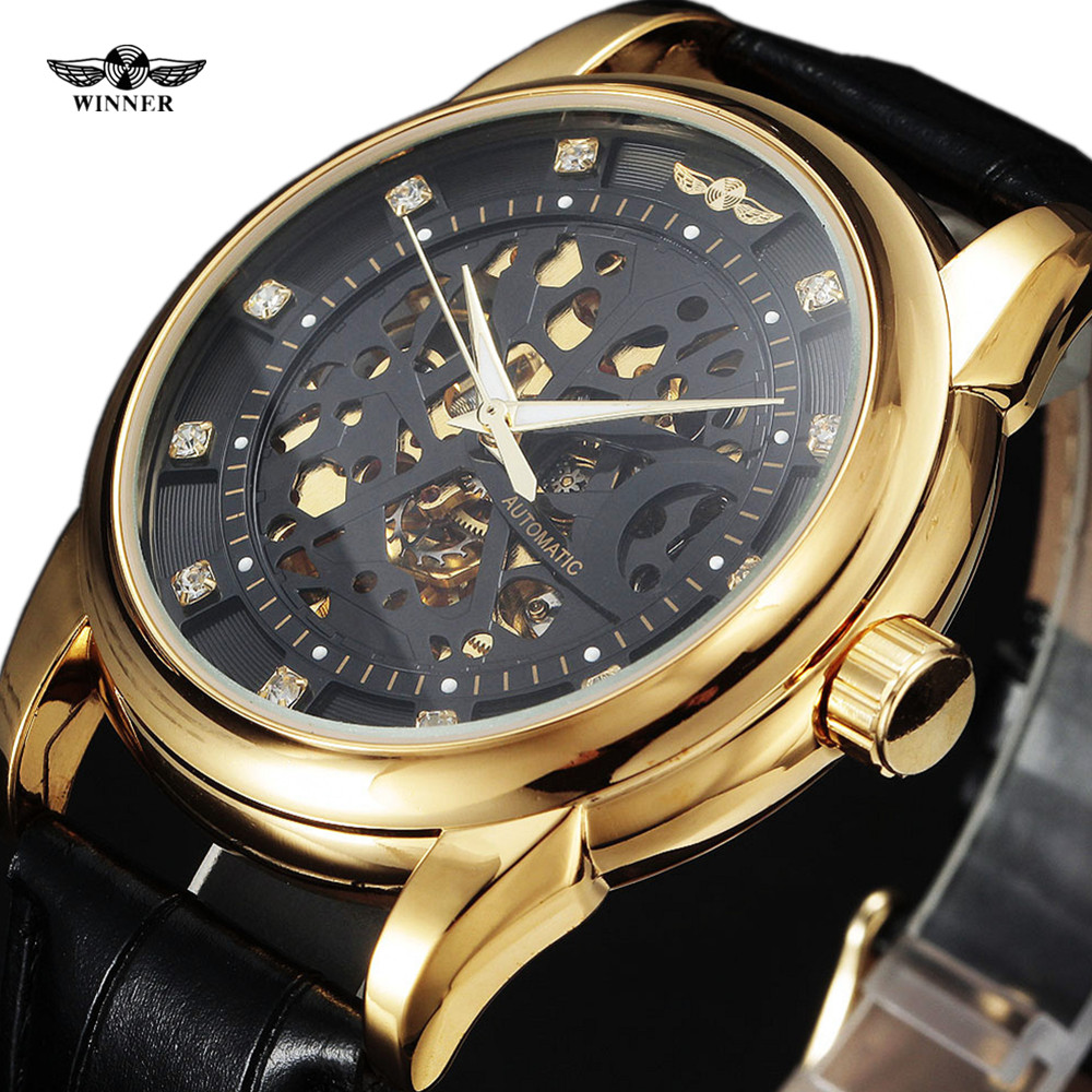 Winner Royal Diamond Design Black Gold Watch Montre Homme Mens Watches Top Brand Luxury Relogio Male Skeleton Mechanical Watch карабин black diamond black diamond gridlock magnetron