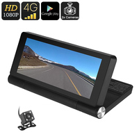 1080p Car DVR Android OS, 7 Inch Display, GPS, Rear View Parking Camera, Motion Detection, Google Play, Bluetooth, WiFi, 4G