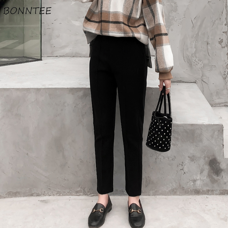 Pants Women Casual Thick Warm Winter Trendy Elegant Soft Korean Womens Pencil Elastic Waist Trousers All-match Student Daily New