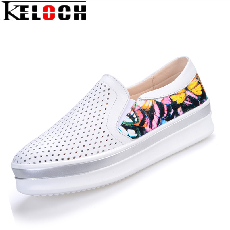 Keloch 2017 Women Shoes Flat Platform Shoes Split Leather Ladies Casual Flats Summer Breathable Slip-On Loafers Women Slipony instantarts women flats emoji face smile pattern summer air mesh beach flat shoes for youth girls mujer casual light sneakers
